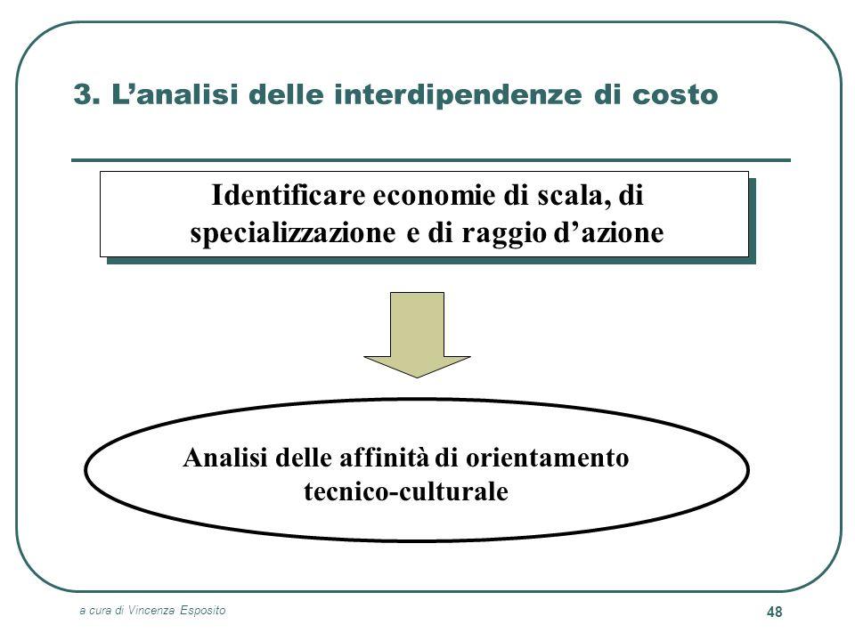 a cura di Vincenza Esposito 48 3. Lanalisi delle interdipendenze di costo Identificare economie di scala, di specializzazione e di raggio dazione Anal