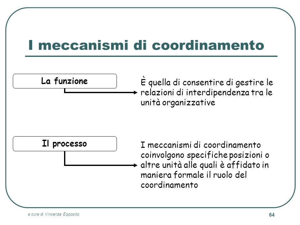 a cura di Vincenza Esposito 64 I meccanismi di coordinamento Il processo I meccanismi di coordinamento coinvolgono specifiche posizioni o altre unità