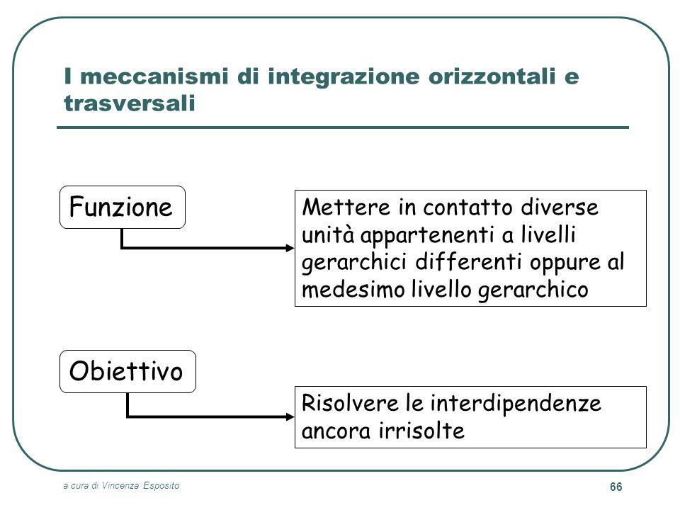 a cura di Vincenza Esposito 66 I meccanismi di integrazione orizzontali e trasversali Risolvere le interdipendenze ancora irrisolte Obiettivo Mettere