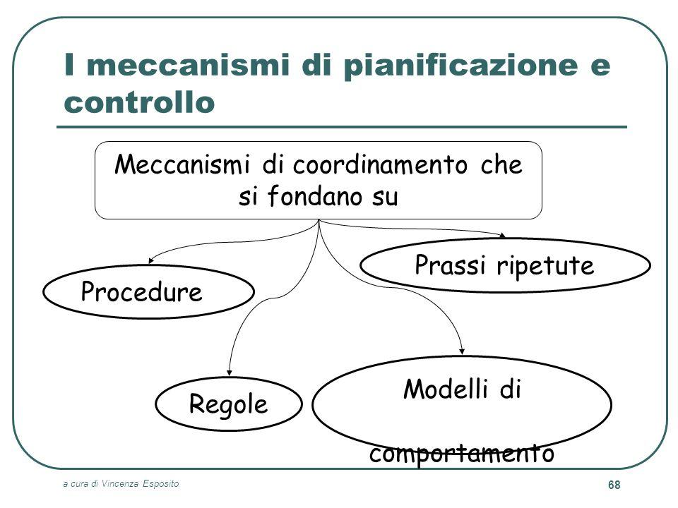 a cura di Vincenza Esposito 68 I meccanismi di pianificazione e controllo Meccanismi di coordinamento che si fondano su Prassi ripetute Procedure Rego