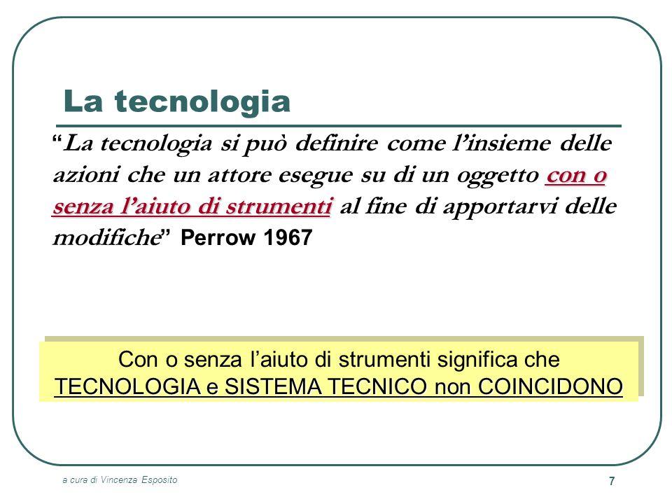 a cura di Vincenza Esposito 7 La tecnologia con o senza laiuto di strumenti La tecnologia si può definire come linsieme delle azioni che un attore ese
