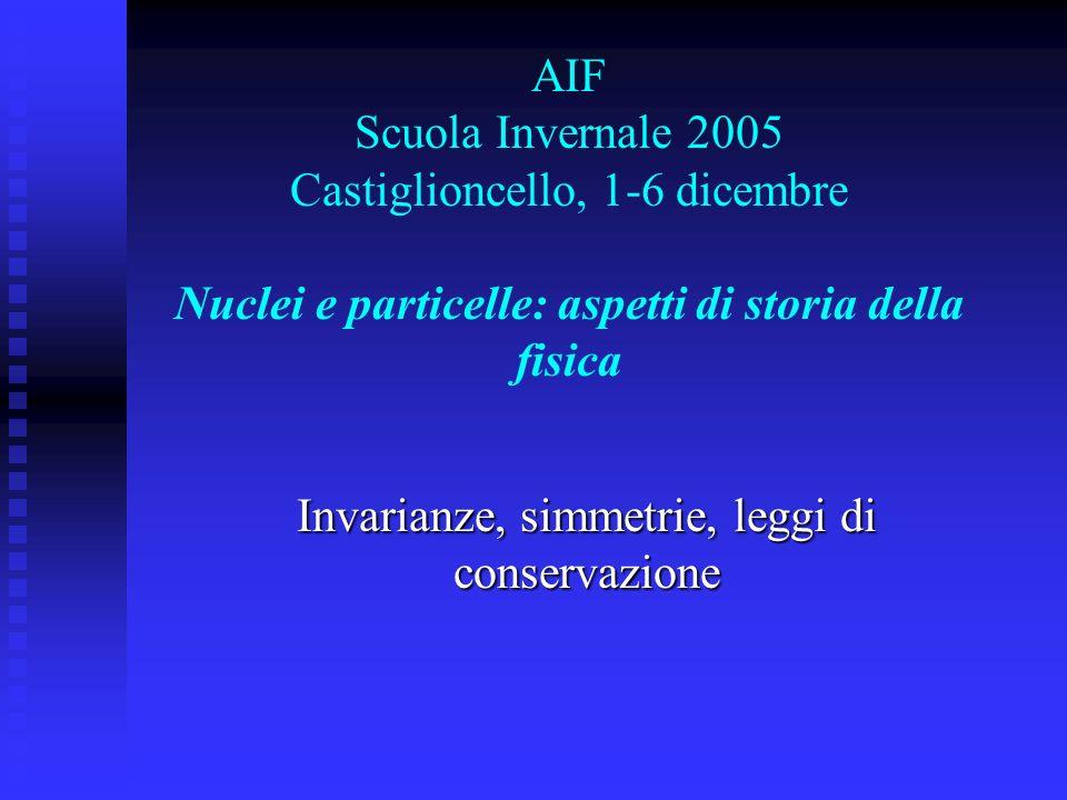 AIF Scuola Invernale 2005 Castiglioncello, 1-6 dicembre Nuclei e particelle: aspetti di storia della fisica Invarianze, simmetrie, leggi di conservazi