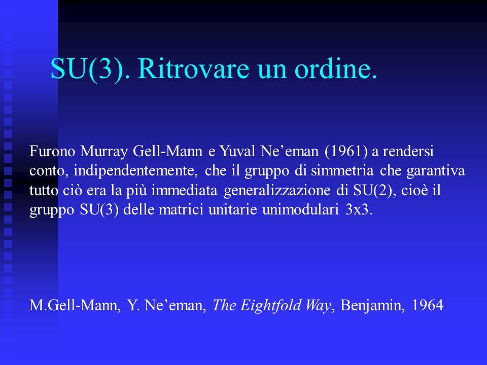SU(3). Ritrovare un ordine. Furono Murray Gell-Mann e Yuval Neeman (1961) a rendersi conto, indipendentemente, che il gruppo di simmetria che garantiv