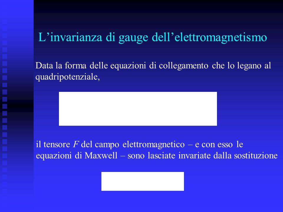 Linvarianza di gauge dellelettromagnetismo Data la forma delle equazioni di collegamento che lo legano al quadripotenziale, il tensore F del campo ele
