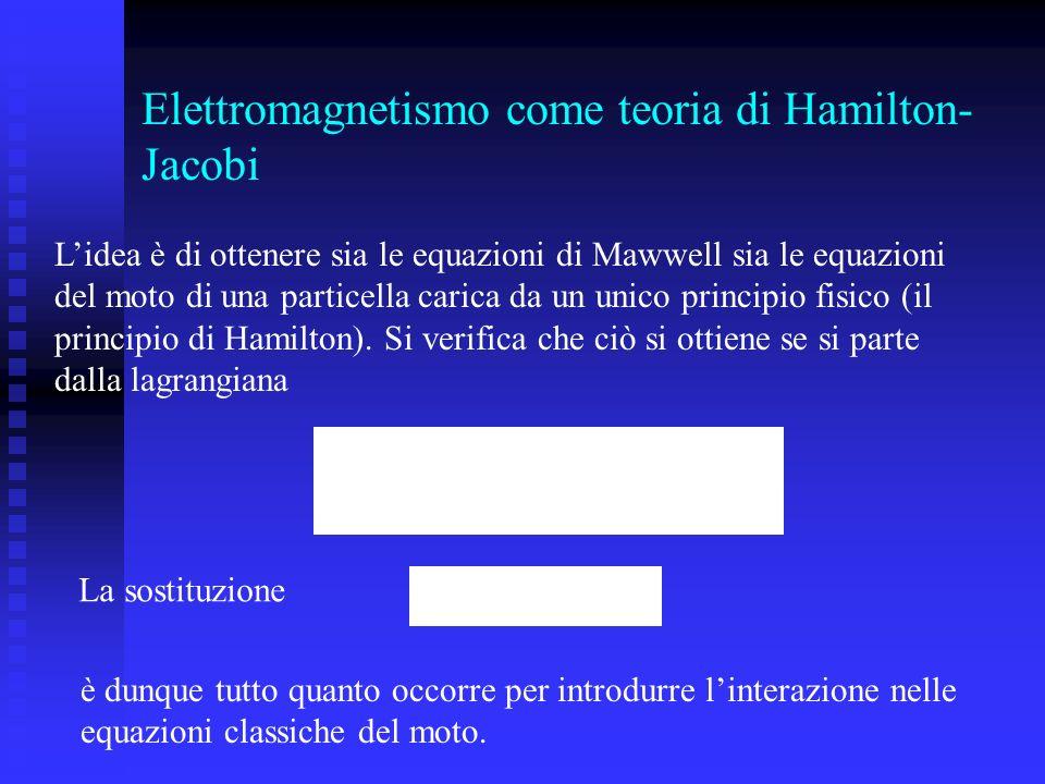 Elettromagnetismo come teoria di Hamilton- Jacobi Lidea è di ottenere sia le equazioni di Mawwell sia le equazioni del moto di una particella carica d