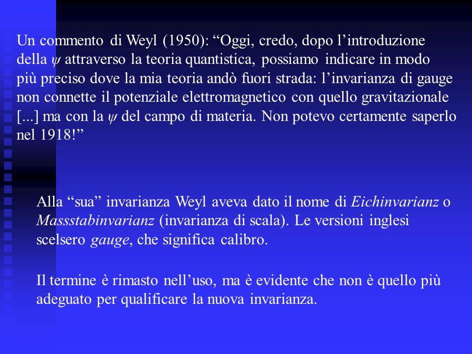 Alla sua invarianza Weyl aveva dato il nome di Eichinvarianz o Massstabinvarianz (invarianza di scala). Le versioni inglesi scelsero gauge, che signif