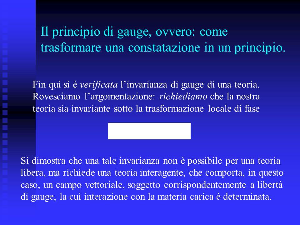 Il principio di gauge, ovvero: come trasformare una constatazione in un principio. Fin qui si è verificata linvarianza di gauge di una teoria. Rovesci