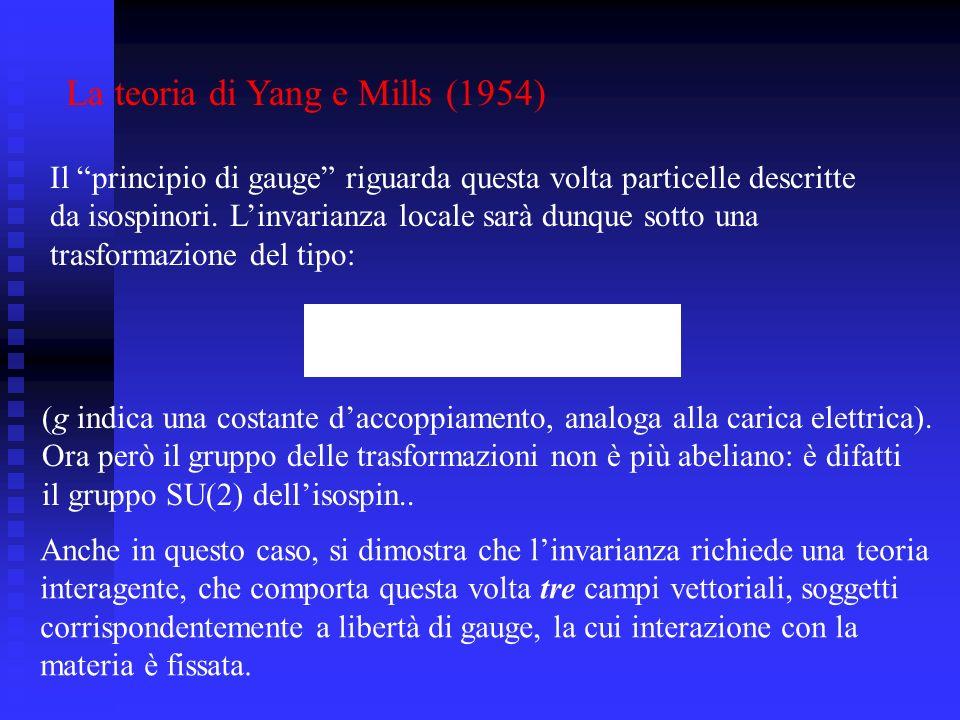 La teoria di Yang e Mills (1954) Il principio di gauge riguarda questa volta particelle descritte da isospinori. Linvarianza locale sarà dunque sotto