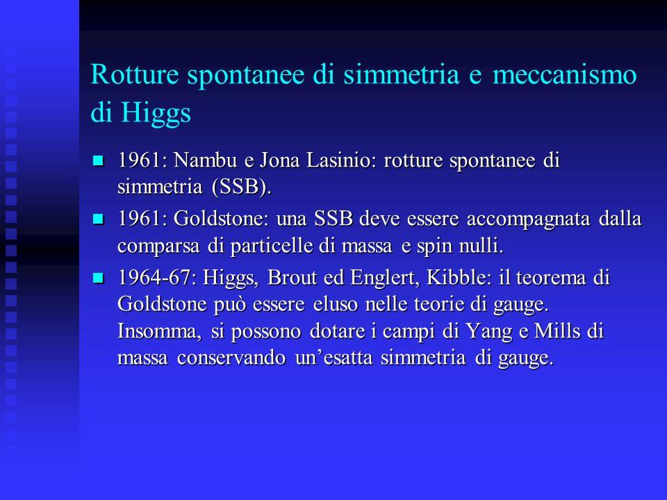 Rotture spontanee di simmetria e meccanismo di Higgs 1961: Nambu e Jona Lasinio: rotture spontanee di simmetria (SSB). 1961: Nambu e Jona Lasinio: rot