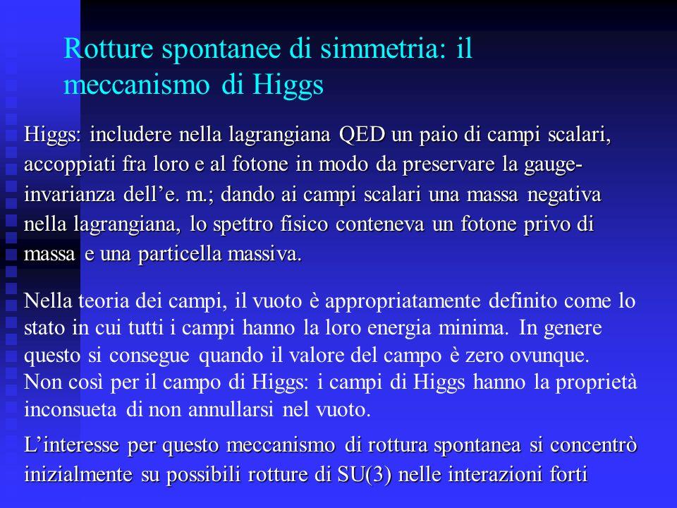 Rotture spontanee di simmetria: il meccanismo di Higgs Nella teoria dei campi, il vuoto è appropriatamente definito come lo stato in cui tutti i campi