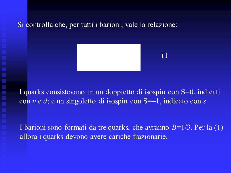 Si controlla che, per tutti i barioni, vale la relazione: I quarks consistevano in un doppietto di isospin con S=0, indicati con u e d; e un singolett