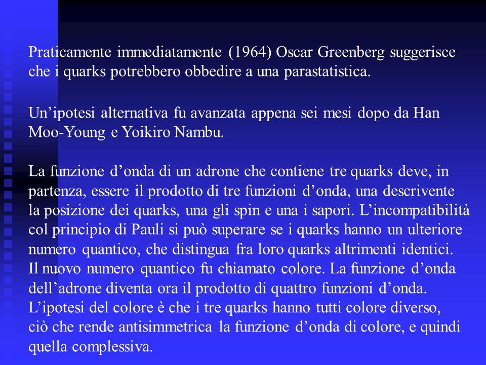 Praticamente immediatamente (1964) Oscar Greenberg suggerisce che i quarks potrebbero obbedire a una parastatistica. Unipotesi alternativa fu avanzata