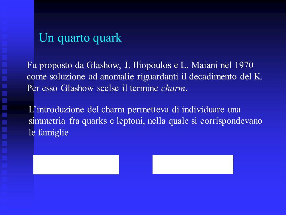 Un quarto quark Fu proposto da Glashow, J. Iliopoulos e L. Maiani nel 1970 come soluzione ad anomalie riguardanti il decadimento del K. Per esso Glash
