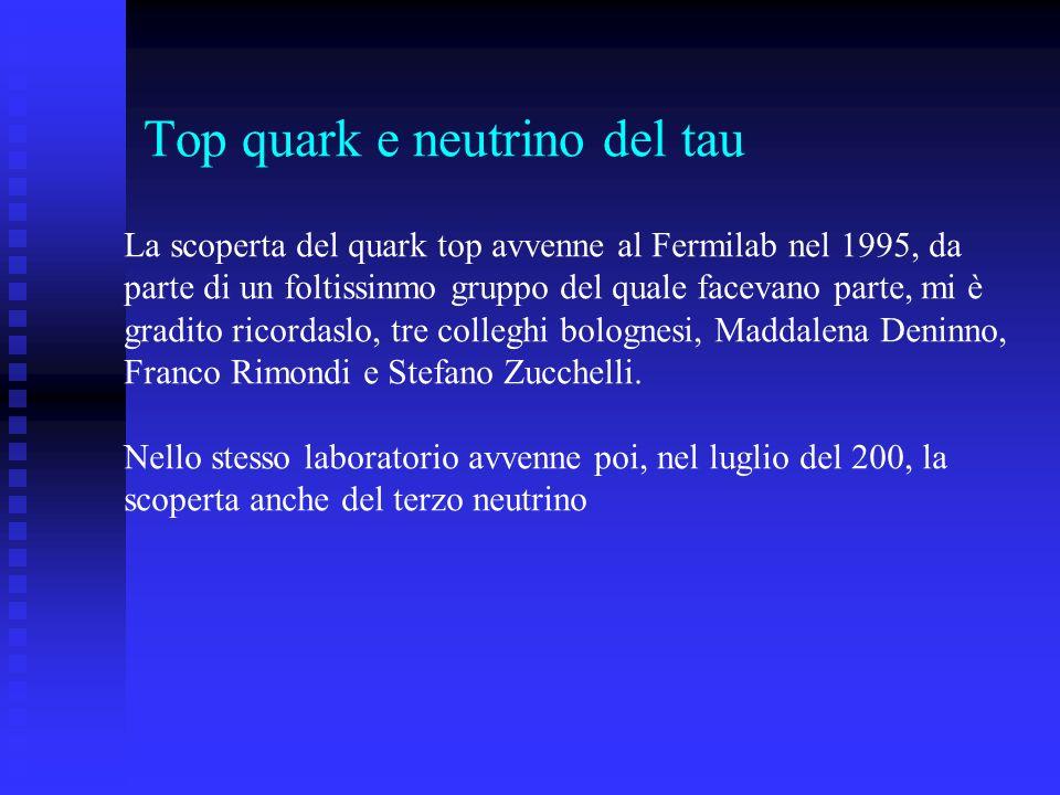 Top quark e neutrino del tau La scoperta del quark top avvenne al Fermilab nel 1995, da parte di un foltissinmo gruppo del quale facevano parte, mi è