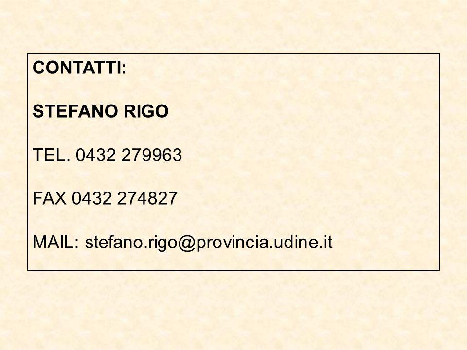 CONTATTI: STEFANO RIGO TEL. 0432 279963 FAX 0432 274827 MAIL: stefano.rigo@provincia.udine.it