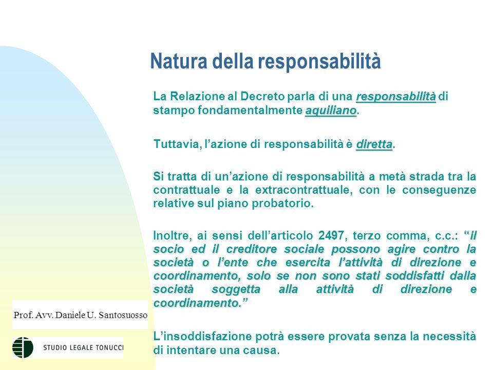 Natura della responsabilità responsabilità aquiliano La Relazione al Decreto parla di una responsabilità di stampo fondamentalmente aquiliano.