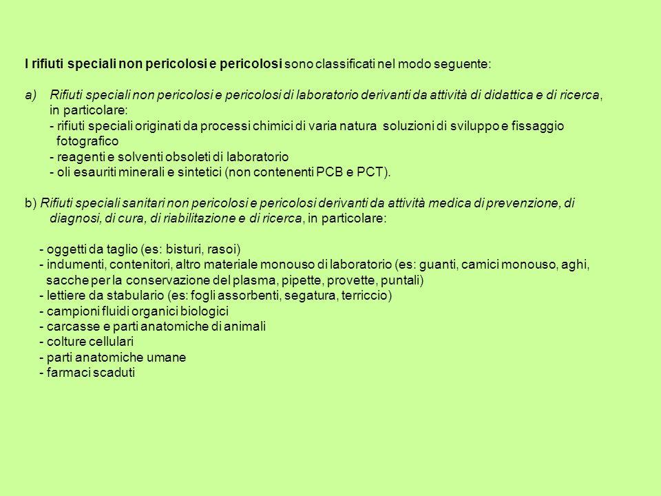 I rifiuti speciali non pericolosi e pericolosi sono classificati nel modo seguente: a)Rifiuti speciali non pericolosi e pericolosi di laboratorio deri