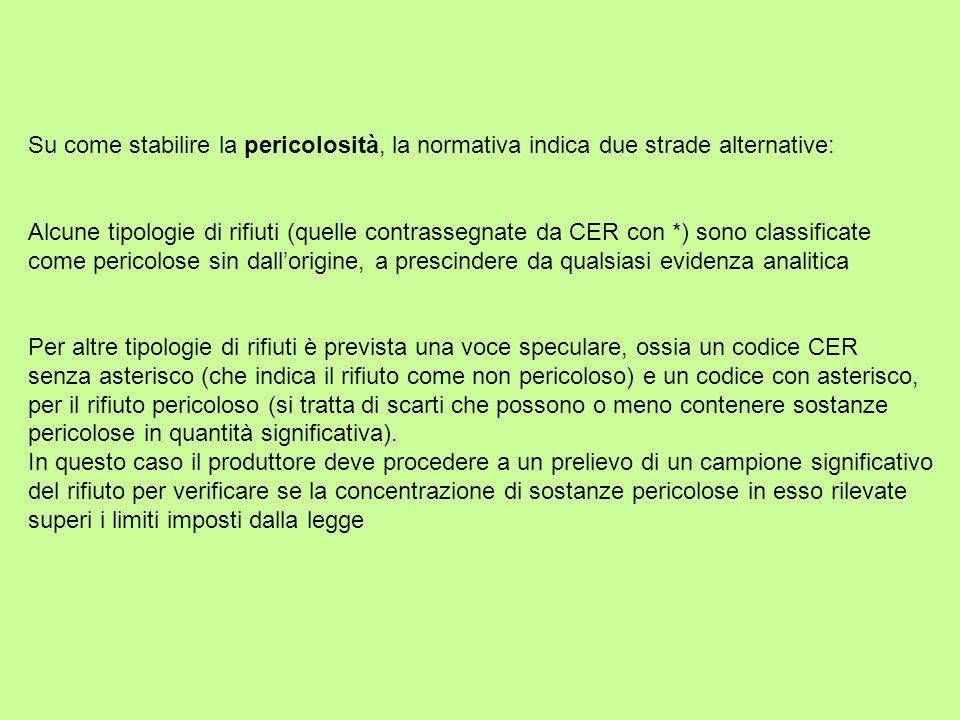 Su come stabilire la pericolosità, la normativa indica due strade alternative: Alcune tipologie di rifiuti (quelle contrassegnate da CER con *) sono c