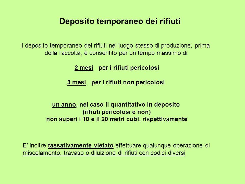Deposito temporaneo dei rifiuti Il deposito temporaneo dei rifiuti nel luogo stesso di produzione, prima della raccolta, è consentito per un tempo mas