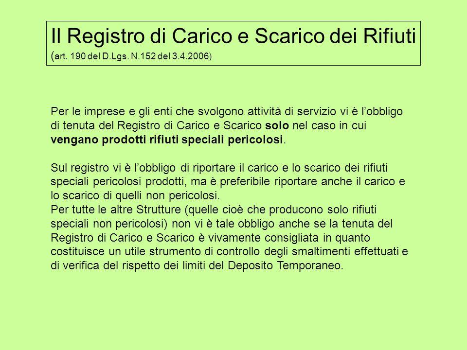 Il Registro di Carico e Scarico dei Rifiuti ( art. 190 del D.Lgs. N.152 del 3.4.2006) Per le imprese e gli enti che svolgono attività di servizio vi è