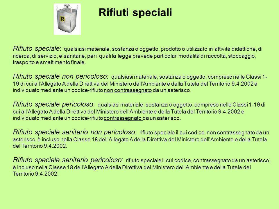 Rifiuti speciali Rifiuto speciale: qualsiasi materiale, sostanza o oggetto, prodotto o utilizzato in attività didattiche, di ricerca, di servizio, e s