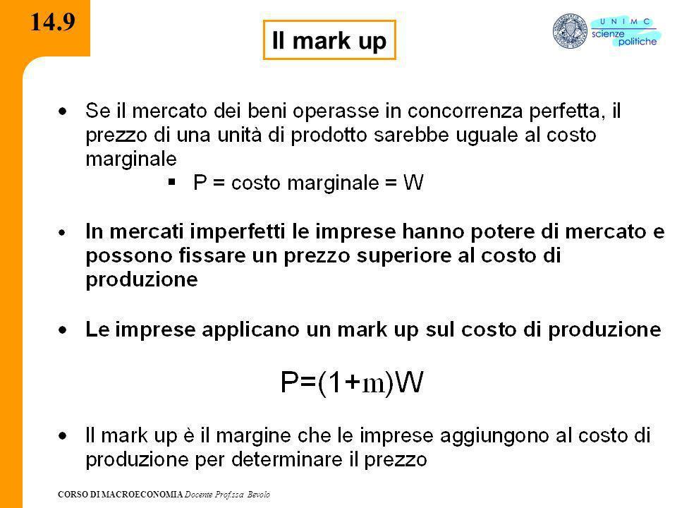 CORSO DI MACROECONOMIA Docente Prof.ssa Bevolo 14.9 Il mark up