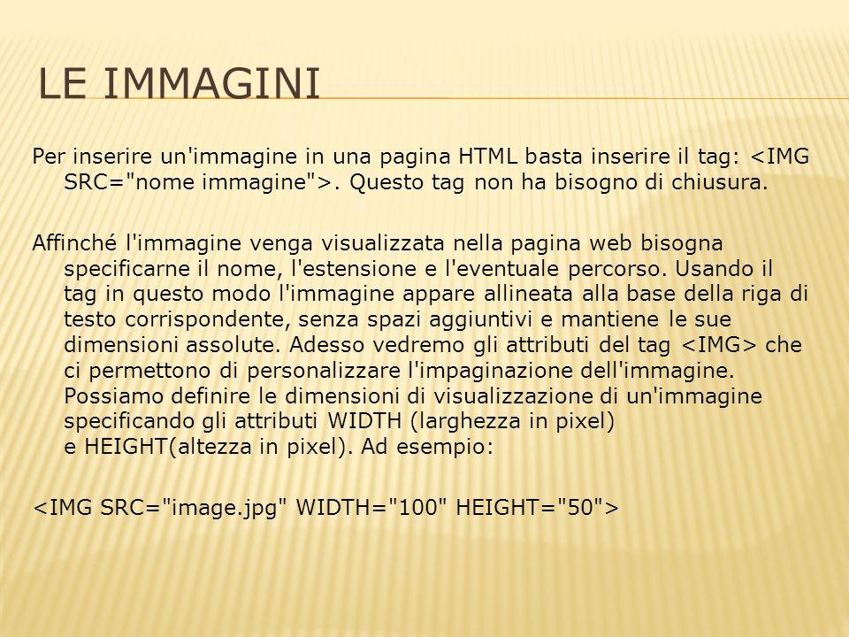 LE IMMAGINI Per inserire un immagine in una pagina HTML basta inserire il tag:.