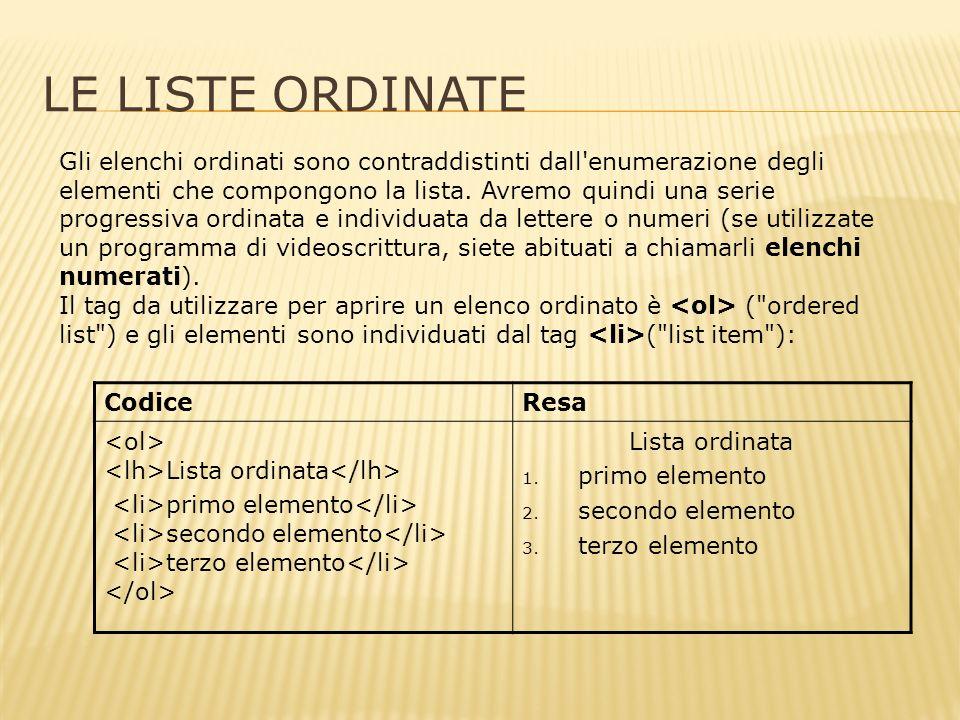 LE LISTE ORDINATE Gli elenchi ordinati sono contraddistinti dall enumerazione degli elementi che compongono la lista.