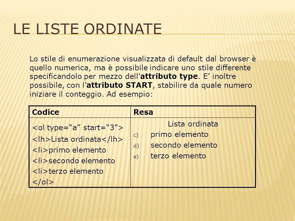 LE LISTE ORDINATE Lo stile di enumerazione visualizzata di default dal browser è quello numerica, ma è possibile indicare uno stile differente specificandolo per mezzo dell attributo type.