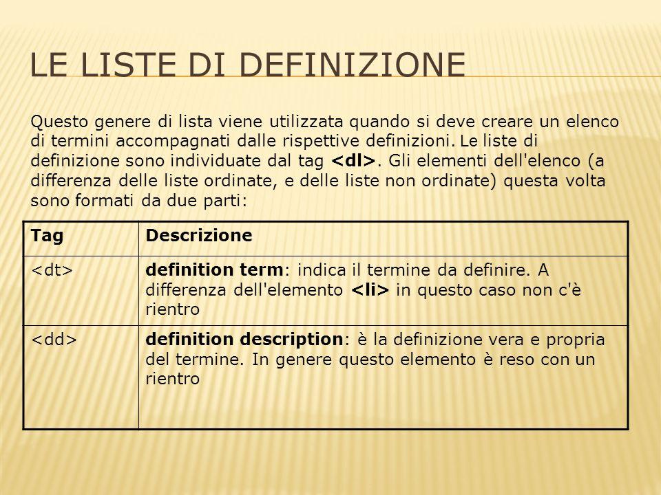 LE LISTE DI DEFINIZIONE Questo genere di lista viene utilizzata quando si deve creare un elenco di termini accompagnati dalle rispettive definizioni.