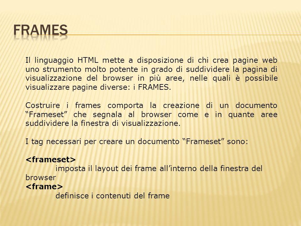 Il linguaggio HTML mette a disposizione di chi crea pagine web uno strumento molto potente in grado di suddividere la pagina di visualizzazione del browser in più aree, nelle quali è possibile visualizzare pagine diverse: i FRAMES.