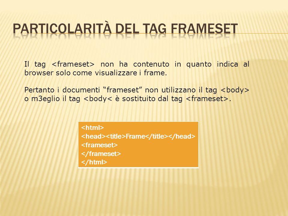 Il tag non ha contenuto in quanto indica al browser solo come visualizzare i frame.
