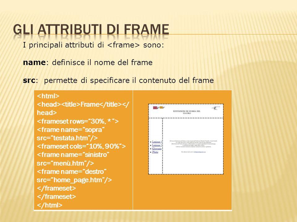 I principali attributi di sono: name: definisce il nome del frame src: permette di specificare il contenuto del frame Frame