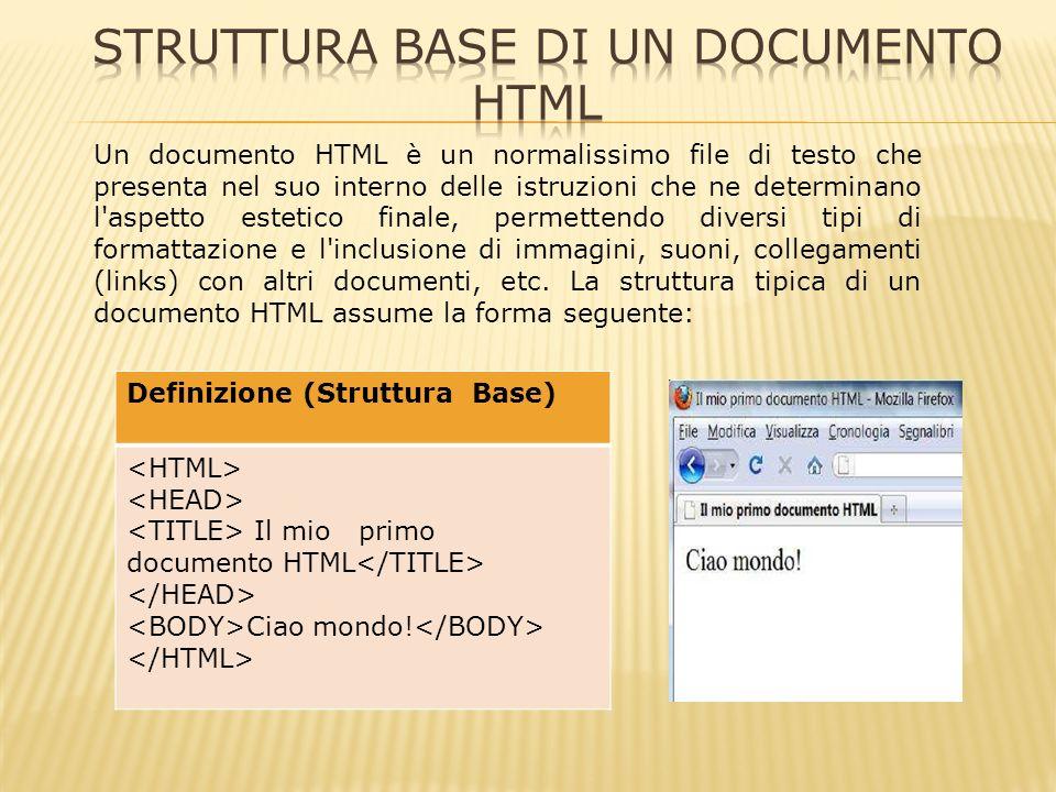 Iniziamo con il notare che tutte le istruzioni HTML (generalmente chiamate tags) vengono racchiuse fra parentesi angolate, nella forma, e che vengono generalmente terminate da un istruzione del tipo.