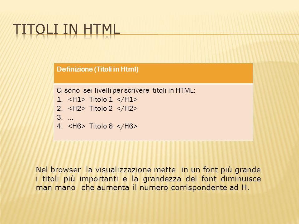 Definizione (Titoli in Html) Ci sono sei livelli per scrivere titoli in HTML: 1.