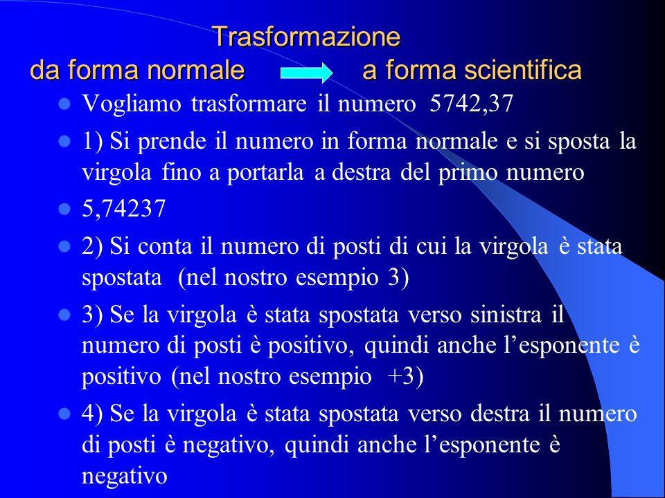 Notazione scientifica esponenziale Un qualsiasi numero si può trasformare in notazione (=forma) scientifica. Un numero espresso in notazione scientifi