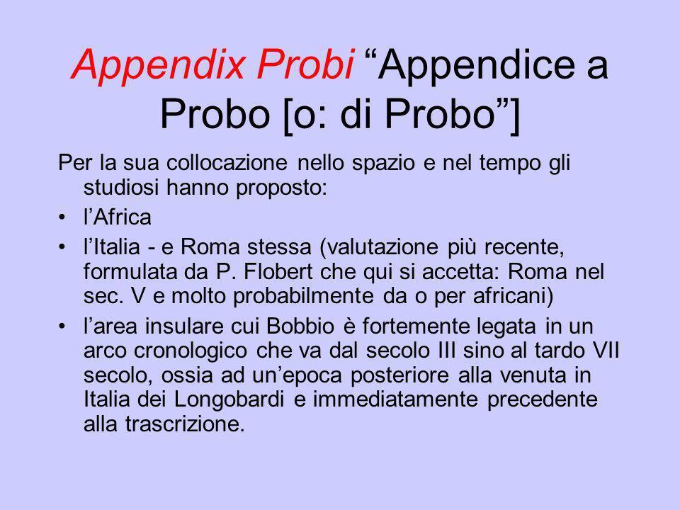 Appendix Probi Appendice a Probo [o: di Probo] Per la sua collocazione nello spazio e nel tempo gli studiosi hanno proposto: lAfrica lItalia - e Roma
