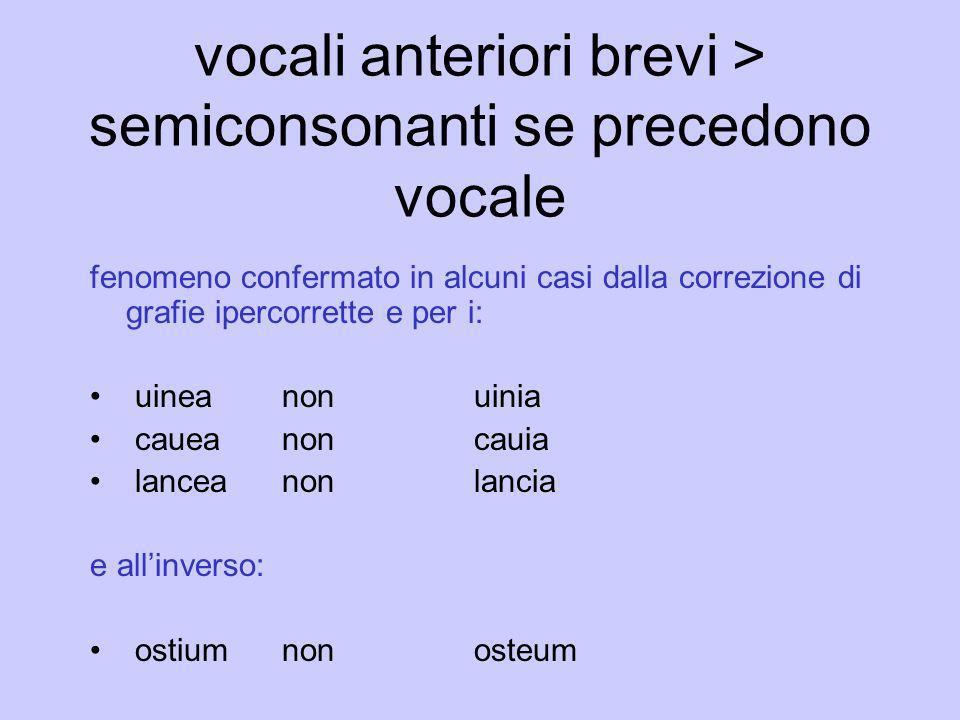 vocali anteriori brevi > semiconsonanti se precedono vocale fenomeno confermato in alcuni casi dalla correzione di grafie ipercorrette e per i: uinean