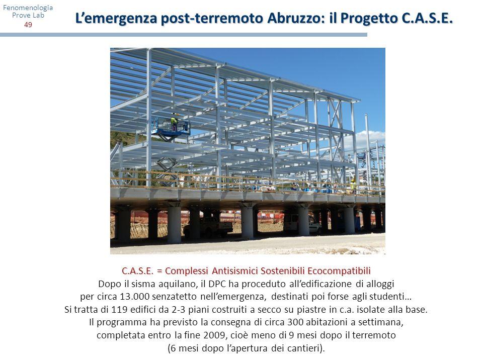 Fenomenologia Prove Lab 49 C.A.S.E. = Complessi Antisismici Sostenibili Ecocompatibili Dopo il sisma aquilano, il DPC ha proceduto alledificazione di