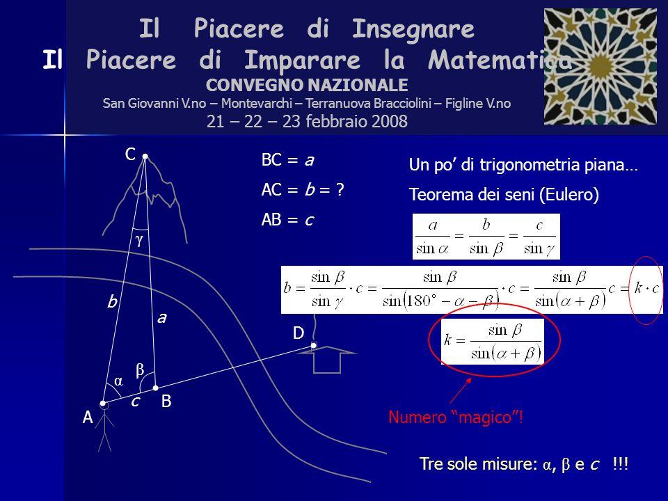Il Piacere di Insegnare Il Piacere di Imparare la Matematica CONVEGNO NAZIONALE San Giovanni V.no – Montevarchi – Terranuova Bracciolini – Figline V.no 21 – 22 – 23 febbraio 2008 BC = a AC = b = .