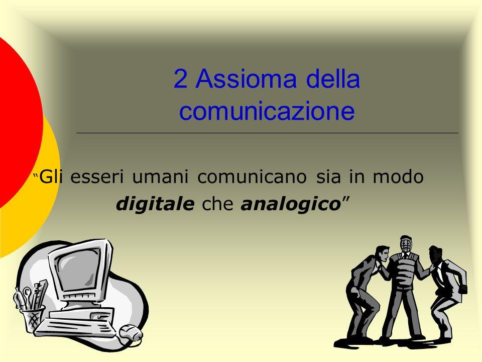 2 Assioma della comunicazione Gli esseri umani comunicano sia in modo digitale che analogico