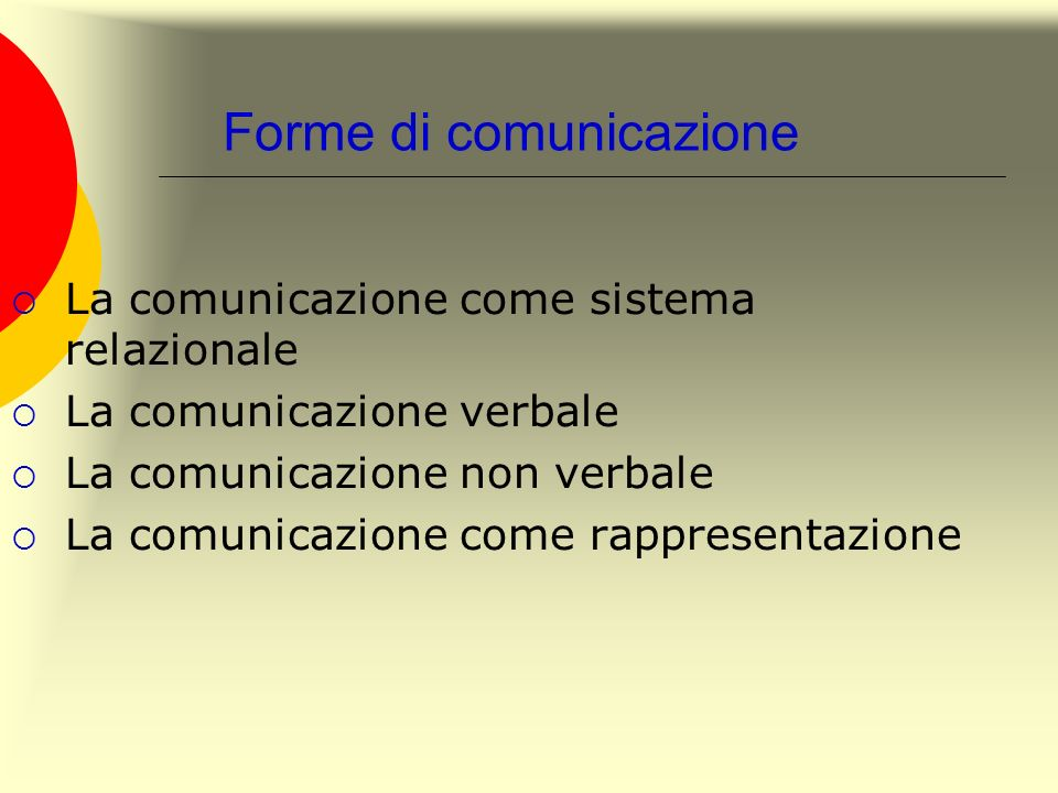 Forme di comunicazione La comunicazione come sistema relazionale La comunicazione verbale La comunicazione non verbale La comunicazione come rappresen