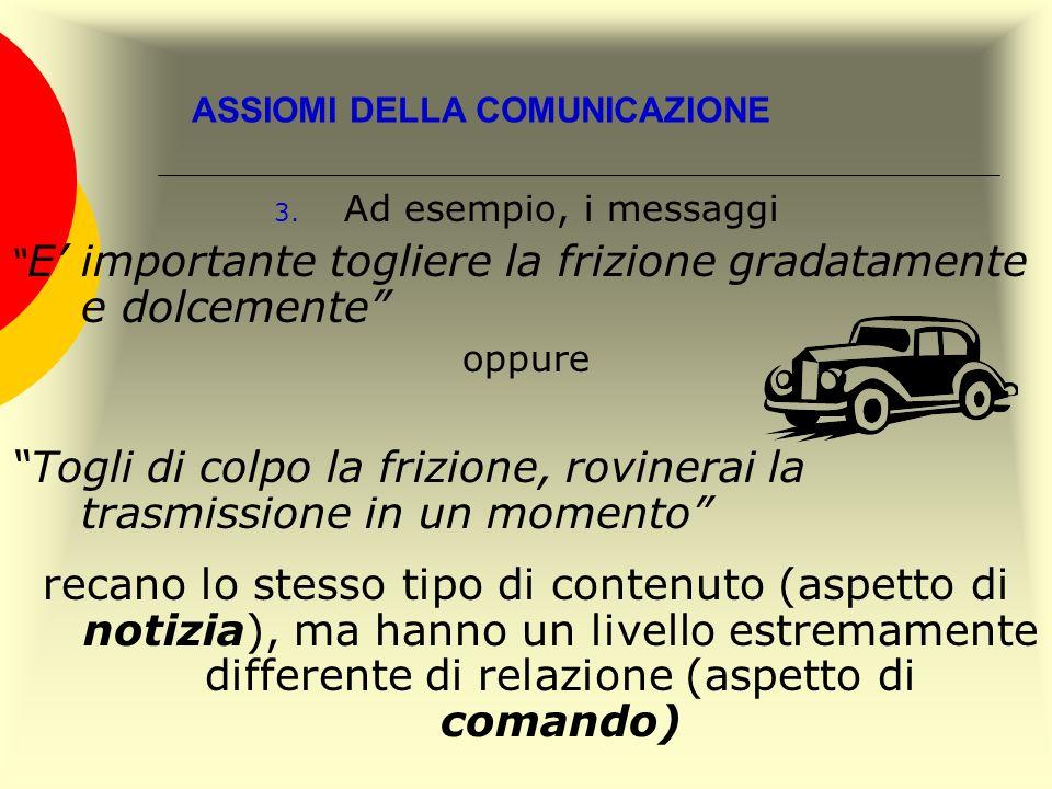 ASSIOMI DELLA COMUNICAZIONE 3. Ad esempio, i messaggi E importante togliere la frizione gradatamente e dolcemente oppure Togli di colpo la frizione, r