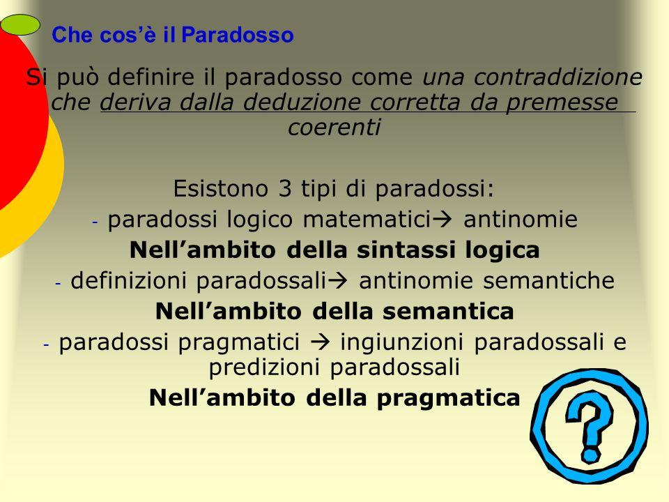 Che cosè il Paradosso Si può definire il paradosso come una contraddizione che deriva dalla deduzione corretta da premesse coerenti Esistono 3 tipi di