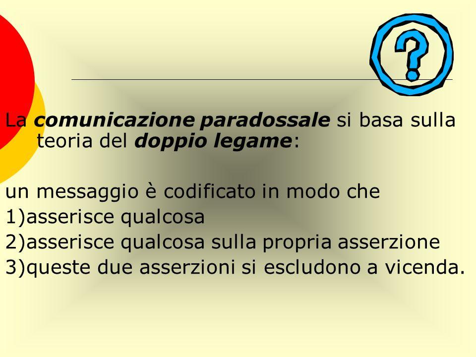 La comunicazione paradossale si basa sulla teoria del doppio legame: un messaggio è codificato in modo che 1)asserisce qualcosa 2)asserisce qualcosa s