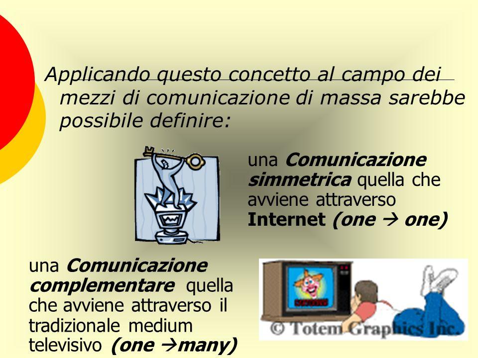 Applicando questo concetto al campo dei mezzi di comunicazione di massa sarebbe possibile definire: una Comunicazione simmetrica quella che avviene at