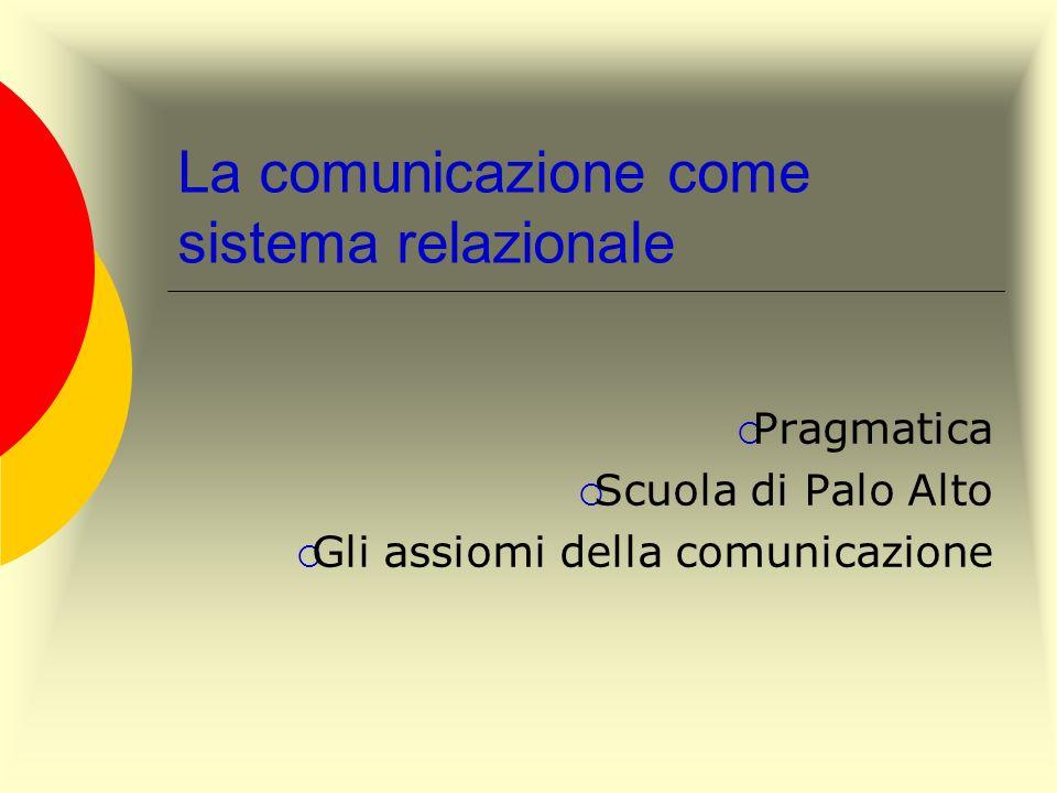 La comunicazione come sistema relazionale Pragmatica Scuola di Palo Alto Gli assiomi della comunicazione