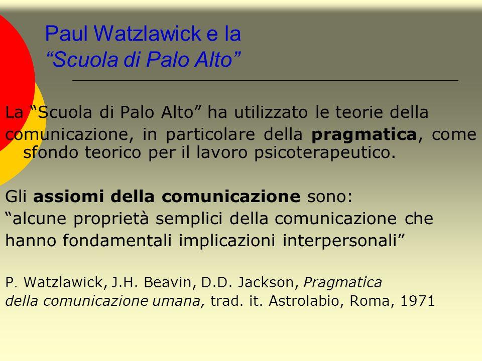 Paul Watzlawick e la Scuola di Palo Alto La Scuola di Palo Alto ha utilizzato le teorie della comunicazione, in particolare della pragmatica, come sfo