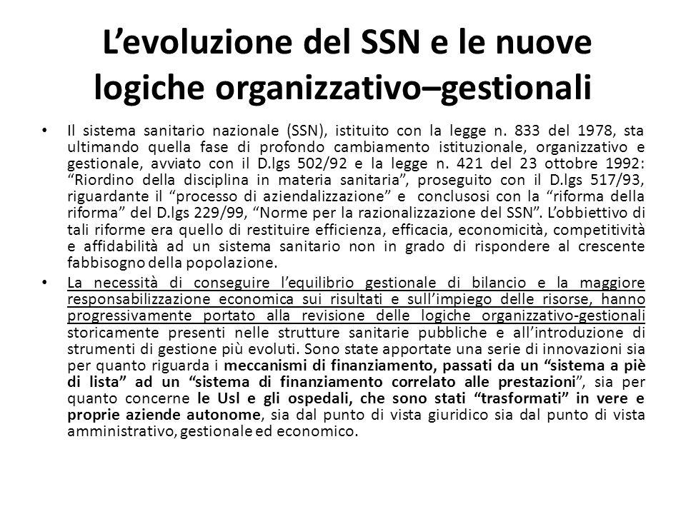Levoluzione del SSN e le nuove logiche organizzativo–gestionali Il sistema sanitario nazionale (SSN), istituito con la legge n. 833 del 1978, sta ulti