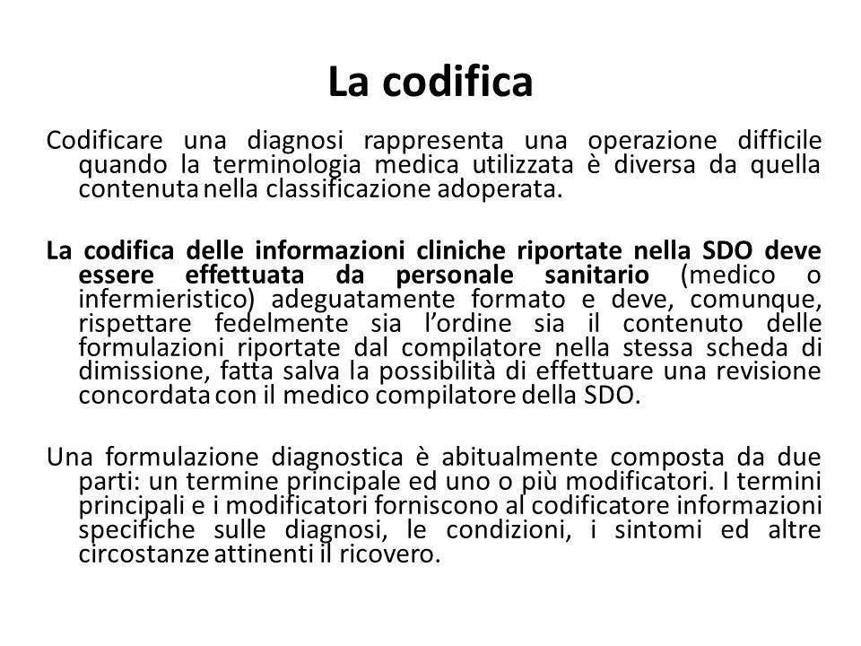 La codifica Codificare una diagnosi rappresenta una operazione difficile quando la terminologia medica utilizzata è diversa da quella contenuta nella